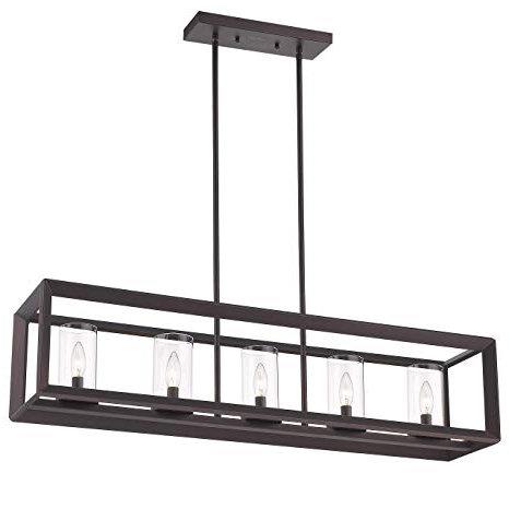 Most Popular Emliviar 5 Light Kitchen Island Lighting, Modern Domestic Linear Pendant Light Fixture, Oil Rubbed Bronze Finish With Clear Glass Shade, 2074lp Orb For Freemont 5 Light Kitchen Island Linear Chandeliers (View 10 of 30)