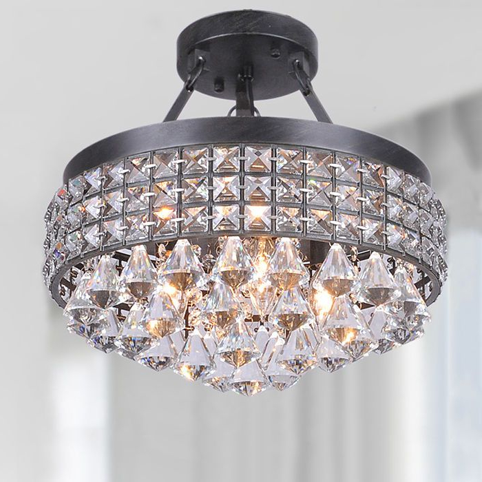 Most Popular Mckamey 4 Light Crystal Chandeliers Regarding Modern 4 Light Crystal Chandelier Pendant Lamp Semi Flush (Gallery 20 of 30)