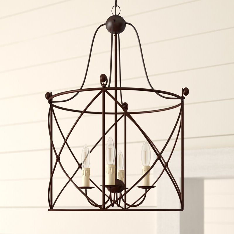 Most Popular Nisbet 6 Light Lantern Geometric Pendants With Aniyah 4 Light Lantern Geometric Pendant (View 24 of 30)