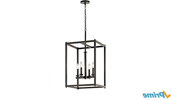 Most Popular Odie 4 Light Lantern Square Pendants Intended For Kichler 43998Oz Four Light Foyer Pendant (Gallery 18 of 30)