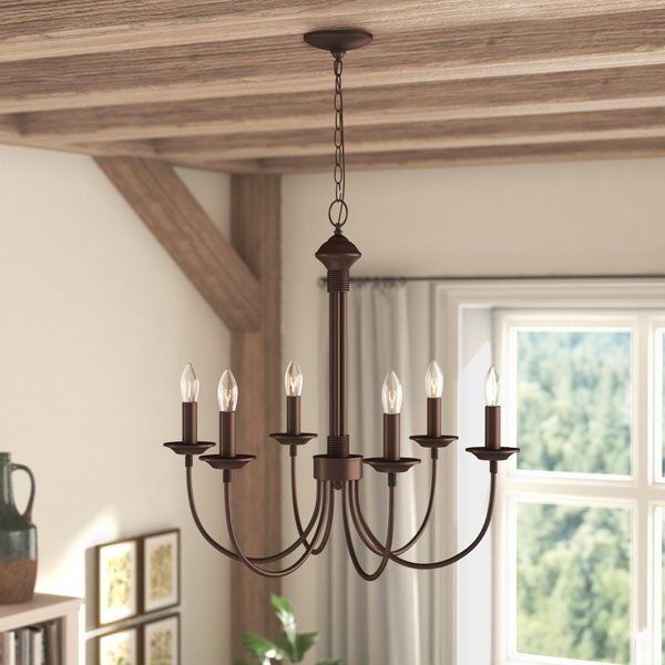 Most Popular Shaylee 5 Light Candle Style Chandeliers Pertaining To Shaylee 6 Light Candle Style Chandelier (View 9 of 30)