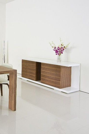 Most Popular Thite Sideboards Pertaining To Thite Buffet – White/walnut On Hautelook (View 11 of 20)