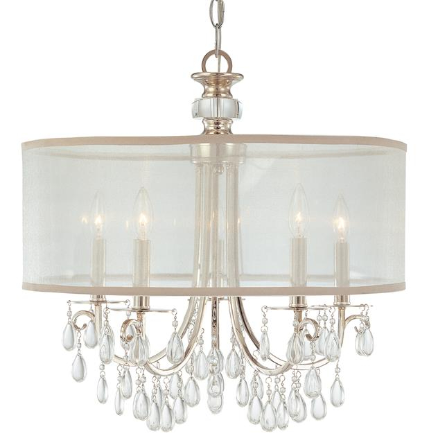 Most Popular Thresa 5 Light Shaded Chandeliers Intended For Crystorama – Hampton 5 Light Drum Shade Chrome Chandelier (Gallery 14 of 30)