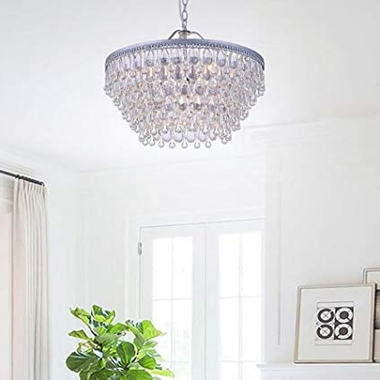 Most Popular Wesley Crystal 6 Light Chandelier With Clear Teardrop Beads Inside Bramers 6 Light Novelty Chandeliers (View 22 of 30)