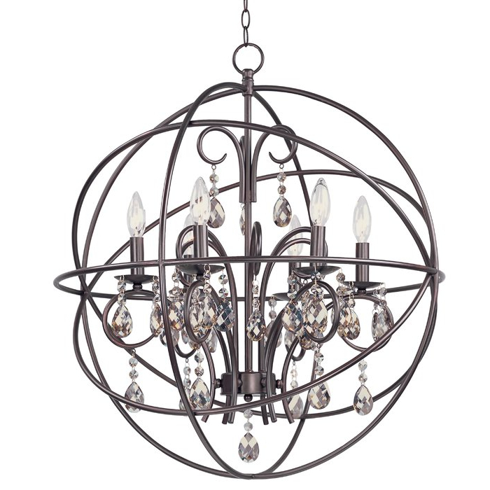 Most Recent Alden 3 Light Single Globe Pendants Within Alden 6 Light Globe Chandelier (Gallery 23 of 30)