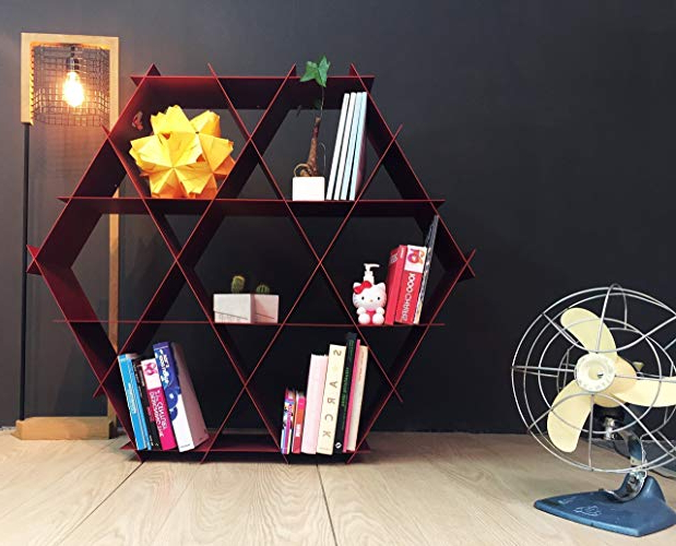 Most Recent Amazon: Ruche Shelving Unit  Geometric Bookcase And With Regard To Skaggs Geometric Bookcases (Gallery 9 of 20)