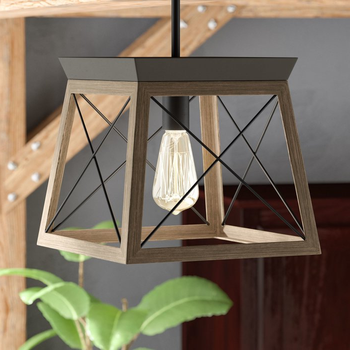 Most Recent Delon 1 Light Lantern Geometric Pendants For Delon 1 Light Lantern Geometric Pendant (View 3 of 30)