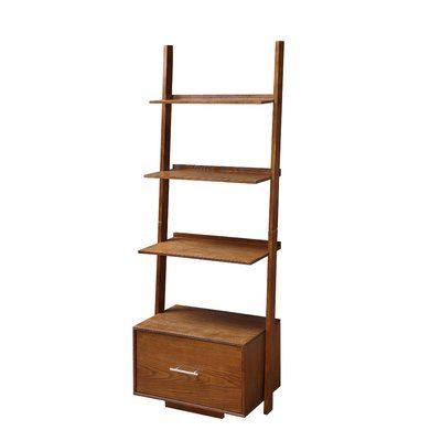 Most Recent Dunhill Ladder Bookcases Throughout Mercury Row Carlucci Ladder Bookcase Color: Dark Walnut In (Gallery 18 of 20)