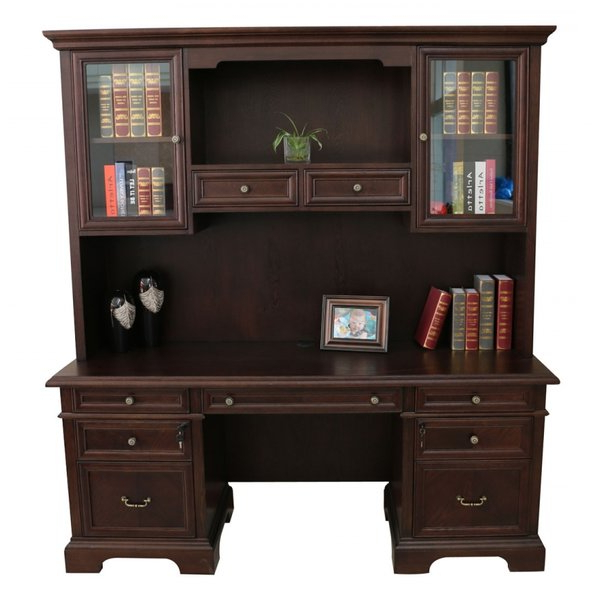 Most Recent Gianni Standard Bookcases Within Bruch Solid Wood Executive Desk With Hutchdarby Home Co (Gallery 20 of 20)