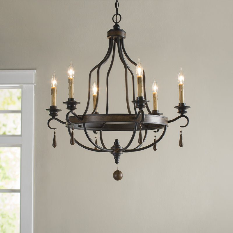 Most Recent Jamesburg 6 Light Candle Style Chandelier For Hamza 6 Light Candle Style Chandeliers (View 18 of 30)