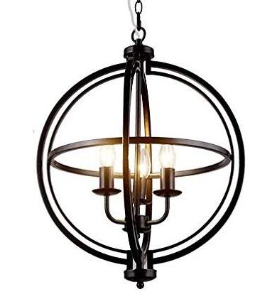 "Most Recent Pendant Ceiling Light Fixture Modern Sphere/orb / Globe Chandelier, Chrome  Finish (3 Lights /17"" / Bronze) Within Alden 3 Light Single Globe Pendants (View 18 of 30)"