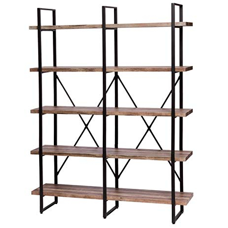 Most Recent Rech 4 Tier Etagere Bookcases Inside Ironck Bookshelf, Double Wide 5 Tier Open Bookcase Vintage Industrial Large  Shelves, Wood And Metal Etagere Bookshelves, For Home Decor Display, (Gallery 19 of 20)