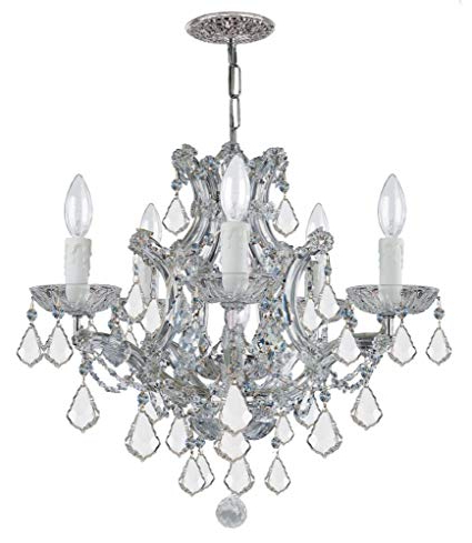Most Recent Thresa 5 Light Shaded Chandeliers Throughout Crystorama Lighting Group 4405 Ch Cl Mwp Maria Theresa 5 (Gallery 8 of 30)