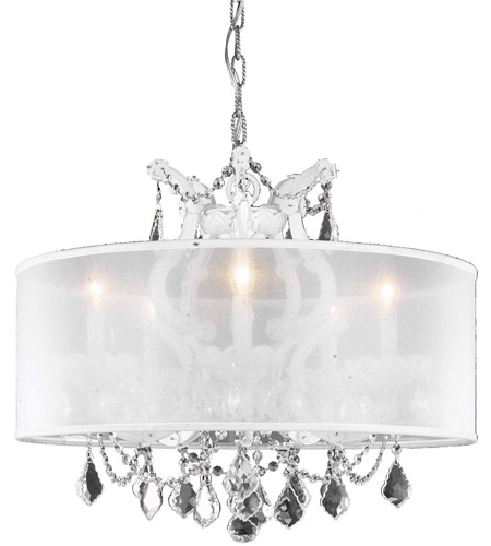 Most Recent Thresa 5 Light Shaded Chandeliers With Maria Theresa 6 Light 23 Inch White Dining Chandelier Ceiling Light In Clear, Swarovski Strass, Silver Shade (Gallery 12 of 30)
