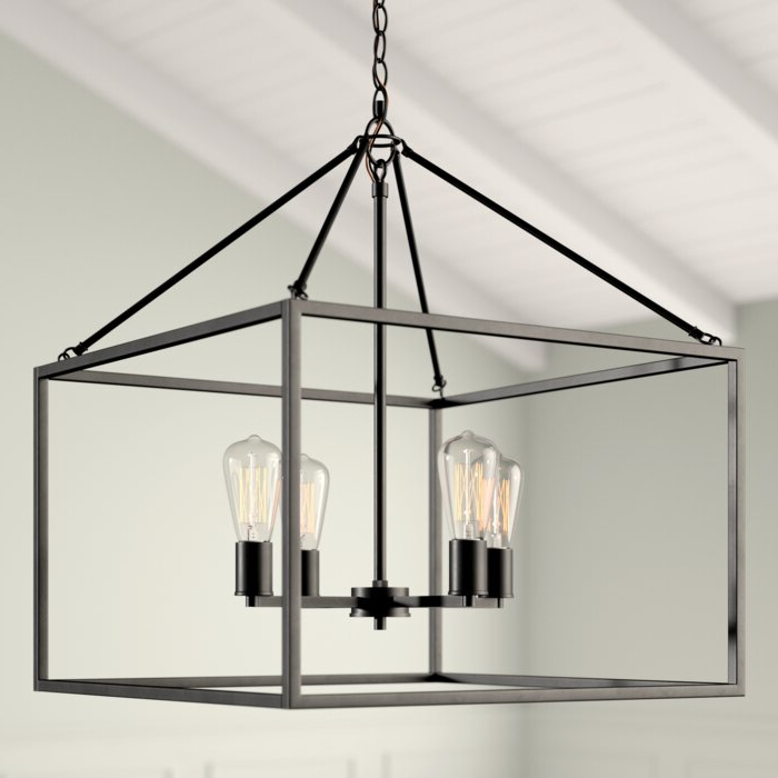 Most Recent Zabel 4 Light Lantern Square / Rectangle Pendant With 4 Light Lantern Square / Rectangle Pendants (View 23 of 30)