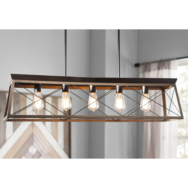 Most Recently Released Delon 5 Light Kitchen Island Linear Pendant Throughout Delon 4 Light Square Chandeliers (View 23 of 30)