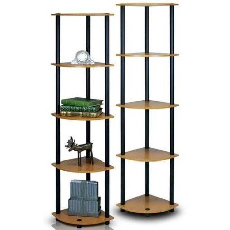 Most Recently Released Furinno 2 99811 Turn N Tube 5 Tier Corner Multipurpose Intended For Emerson Corner Unit Bookcases (View 16 of 20)