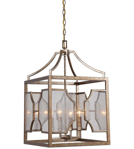 Most Up To Date 4 Light Lantern Square / Rectangle Pendants Pertaining To Uttermost 22142 Cates 4 Light 16 Inch Warm Antiqued Silver Leaf Lantern Pendant Ceiling Light (View 29 of 30)