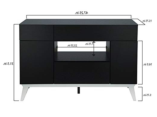 Most Up To Date Amazon – Iohomes Giulia Modern Buffet Table, Black Within Giulia 3 Drawer Credenzas (View 14 of 20)