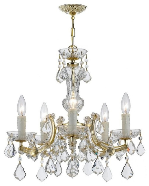 Most Up To Date Crystorama Maria Theresa 5 Light Gold Mini Chandelier Within Thresa 5 Light Shaded Chandeliers (View 4 of 30)