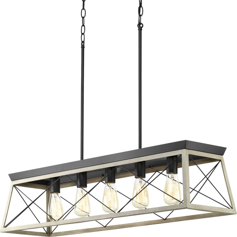 Most Up To Date Delon 1 Light Lantern Geometric Pendants Throughout Delon 5 Light Kitchen Island Linear Pendant (Gallery 14 of 30)