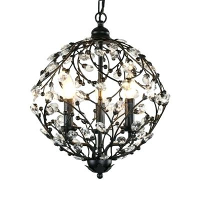 Most Up To Date La Barge 3 Light Globe Chandeliers Regarding 3 Light Globe Chandelier Antique Bronze Wrought Iron Cage (Gallery 26 of 30)