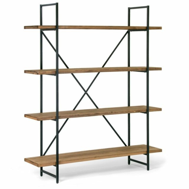 Most Up To Date Parker Modern Etagere Bookcases For Ailis Brown Wood And Metal 75 Inch 4 Shelf Etagere Bookcase Media Storage (Gallery 15 of 20)