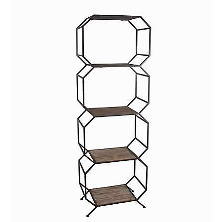 Most Up To Date Product Details Geometric 5 Tier Wood With Metal Frame Shelf For Henn Etagere Bookcases (Gallery 7 of 20)