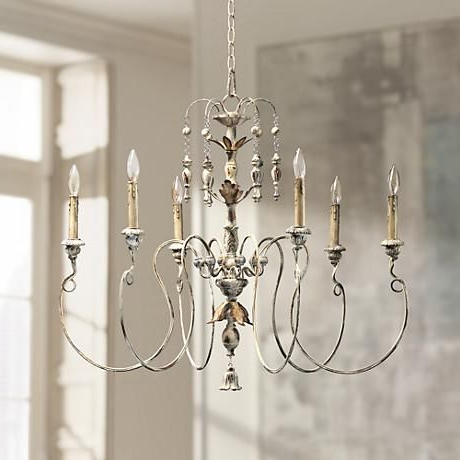 "Most Up To Date Quorum Salento 6 Light 32"" Wide Persian White Chandelier Regarding Bouchette Traditional 6 Light Candle Style Chandeliers (View 22 of 30)"