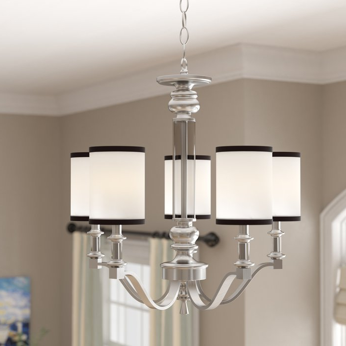 Most Up To Date Suki 5 Light Shaded Chandeliers Pertaining To Pfeffer 5 Light Shaded Chandelier (View 7 of 30)