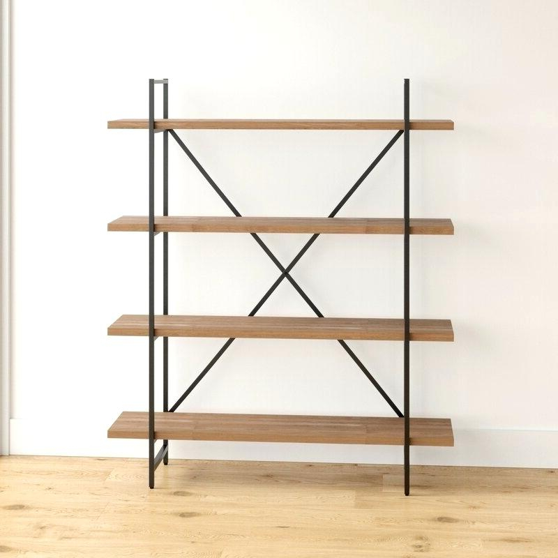 Newest Champney Modern Etagere Bookcases Pertaining To Metal Wood Bookcase – Ardelleheard.co (Gallery 9 of 20)