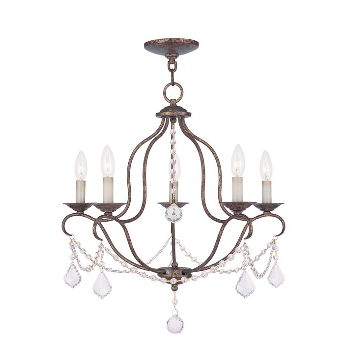 Newest Corneau 5 Light Chandeliers Within Accomac 5 Light Candle Style Chandelier (Gallery 26 of 30)