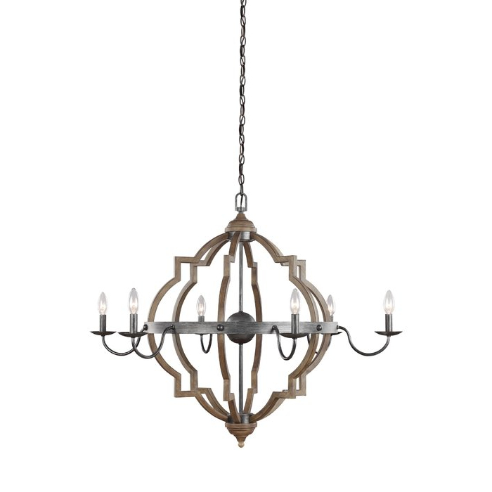 Newest Diaz 6 Light Candle Style Chandeliers Inside Donna 6 Light Candle Style Chandelier (View 13 of 30)