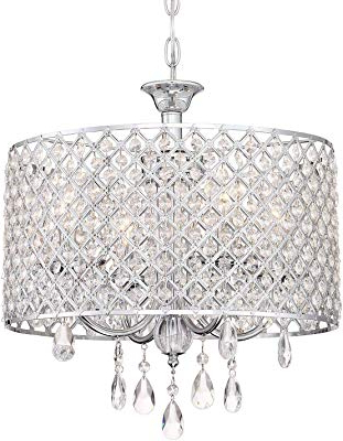 Newest Edvivi Marya 4 Light Chrome Round Crystal Chandelier Ceiling Inside Von 4 Light Crystal Chandeliers (View 8 of 30)