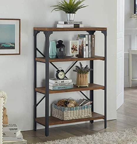 Newest Etagere Bookcases Regarding Homissue 4 Shelf Vintage Style Bookshelf, Industrial Open Metal Bookcases Furniture, Etagere Bookcase For Living Room & Office, Brown, (View 8 of 20)