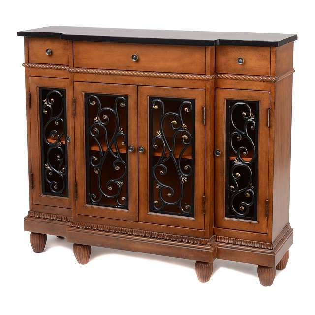 Newest Kronburgh Sideboards Within Product Details Prescott Mahogany Open Scroll Cabinet (View 11 of 20)