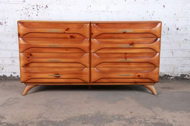 Newest Lowrey Credenzas Inside Franklin Shockey Rustic Modern Sculptured Pine Double Dresser Or Credenza,  1950S (Gallery 9 of 20)