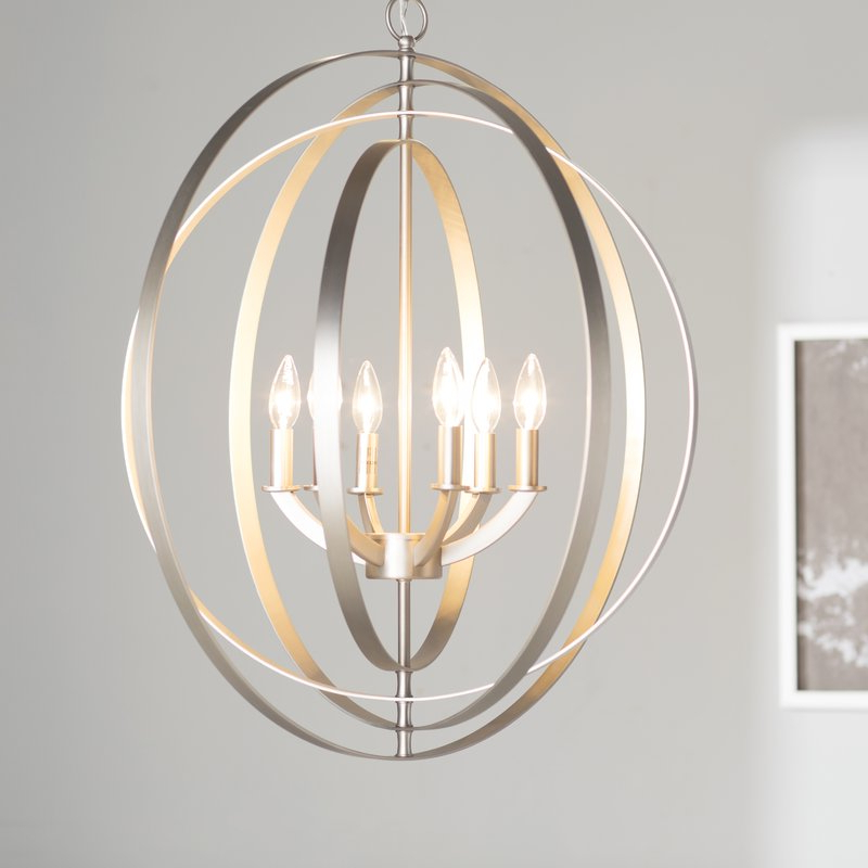 Newest Morganti 4 Light Chandeliers With Regard To Morganti 6 Light Globe Chandelier (Gallery 5 of 30)