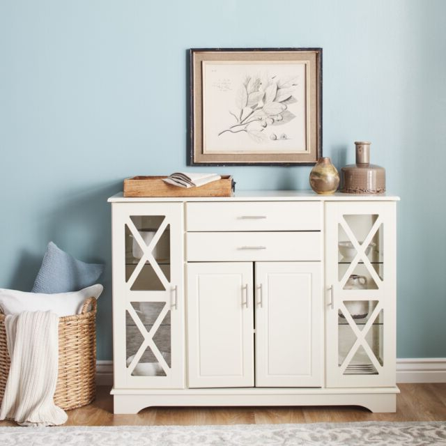 Newest Simple Living Antique White Kendall Buffet Display Cabinet Drawers With Regard To Kendall Sideboards (Gallery 16 of 20)