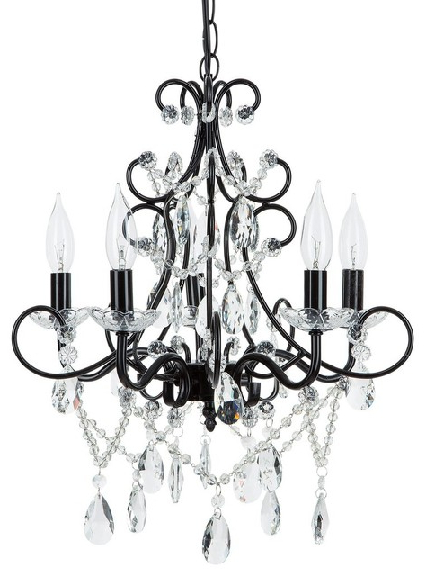 Newest Theresa 5 Light Wrought Iron Crystal Chandelier, Black Inside Thresa 5 Light Shaded Chandeliers (View 3 of 30)