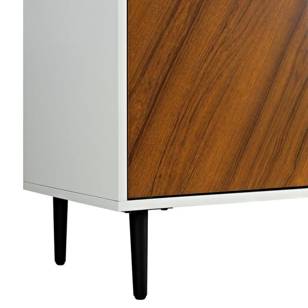 Newest Walker Edison Furniture Company 58 In. White/teak Modern With Regard To Keiko Modern Bookmatch Sideboards (Gallery 6 of 20)