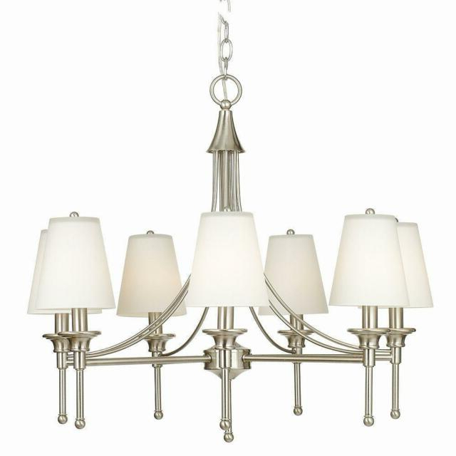 Newest Whitten 4 Light Crystal Chandeliers Intended For Hampton Bay Sadie Collection 7 Light Satin Nickel Chandelier (View 19 of 30)