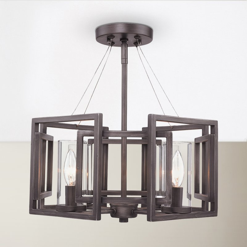Newest Wightman 4 Light Semi Flush Mount Throughout Wightman Drum Chandeliers (Gallery 10 of 30)