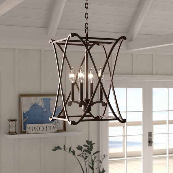 Nisbet 4 Light Lantern Geometric Pendant For Trendy Nisbet 4 Light Lantern Geometric Pendants (Gallery 5 of 30)