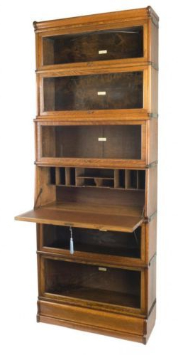 Oak Globe Wernicke Secretaire Bookcase C.1900. The Intended For 2020 Series C Standard Bookcases (Gallery 20 of 20)