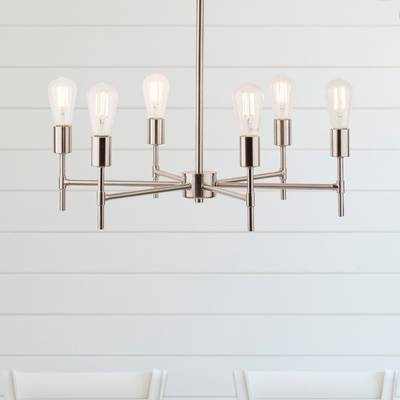 Orren Ellis Cushing Adjustable Height Metal 6 Light Sputnik Inside Favorite Sherri 6 Light Chandeliers (Gallery 13 of 30)