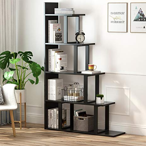 Pierview Corner Bookcases Pertaining To Best And Newest Tribesigns 5 Shelf Ladder Corner Bookshelf, Modern Simplism Style 63 '' H X 12 '' W X 40 ''l, Made Of Steel And Wood, For Living Room Or Hallway (View 15 of 20)