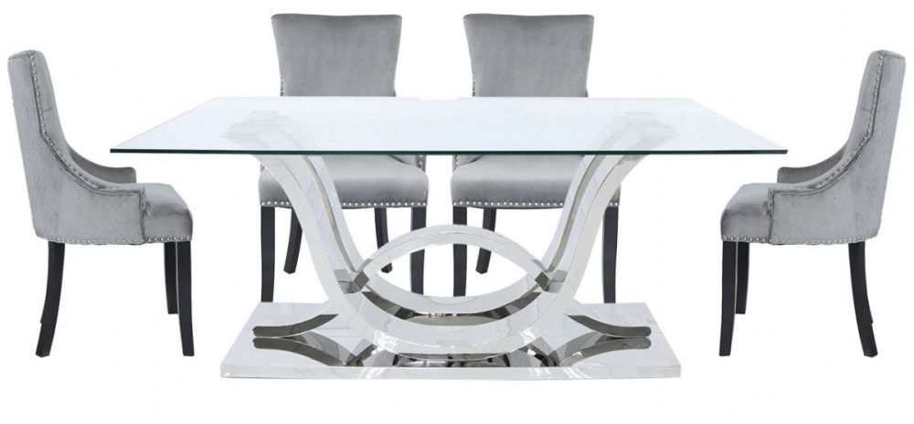 Pineville Dining Sideboards With Regard To Recent Pineville Dining Table And 6 Chairs – Glass And Chrome (View 15 of 20)