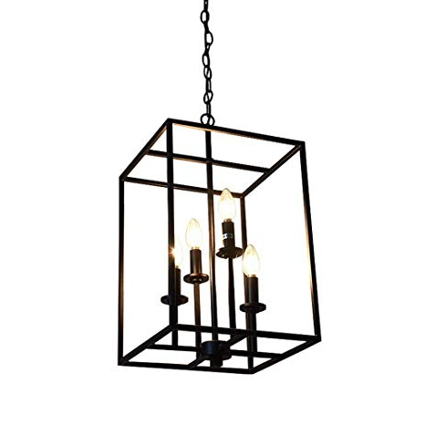 Popular 4 Light Lantern Square / Rectangle Pendants For Niuyao Pendant Industrial 4 Light Kitchen With Square Metal (View 21 of 30)