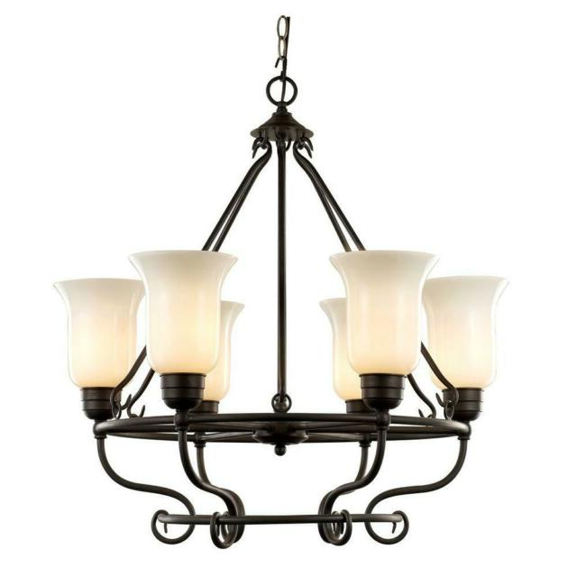 Popular 6 Light Dark Bronze Chandelier With Seeded Glass Throughout Newent 5 Light Shaded Chandeliers (View 27 of 30)